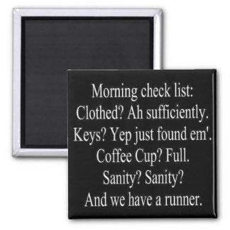 Aimant liste de contrôle de matin