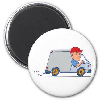 Aimant Livreur conduisant Truck Van Cartoon