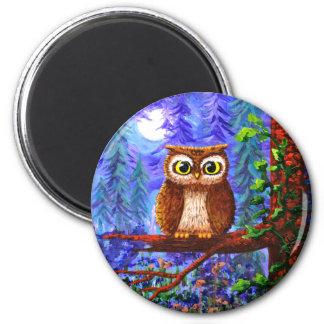 Aimant Lune drôle Creationarts lunatique de forêt de