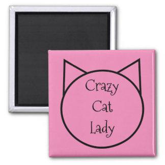 Aimant Madame folle de chat