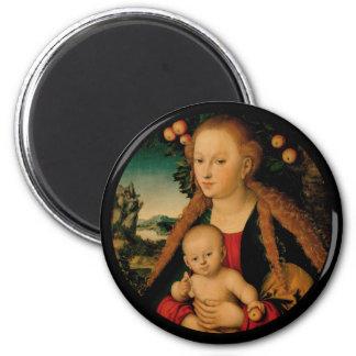 Aimant Madonna et enfant du Christ sous le pommier
