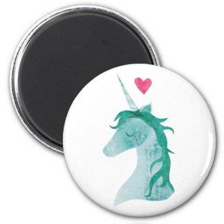 Aimant Magie bleue de licorne avec le coeur