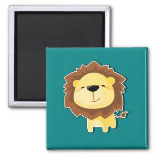 Aimant Mâle heureux de lion de bande dessinée avec
