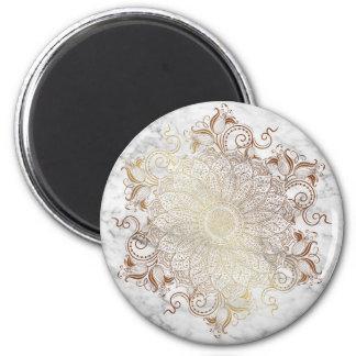 Aimant Mandala - or et marbre