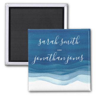 Aimant Mariage bleu de vagues et de manuscrit d'aquarelle