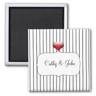 Aimant Mariage moderne de rayures noires et blanches
