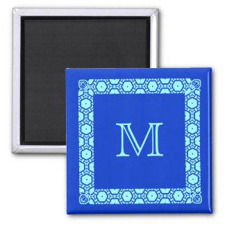 Aimant Marqueur décoré d'un monogramme bleu de porte de