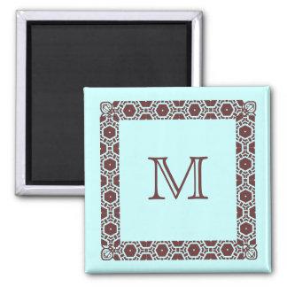 Aimant Marqueur décoré d'un monogramme de porte de cabine