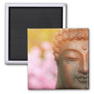 Aimant méditant de Bouddha avec des fleurs de