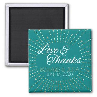 Aimant Merci turquoise de faveur de mariage d'or d'amour