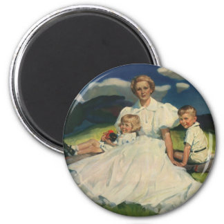 Aimant Mère vintage avec le portrait de famille d'enfants