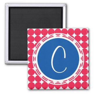 Aimant Monogramme bleu et rouge de point de polka