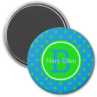 Aimant Monogramme bleu et vert d'été de polka de point