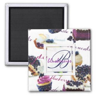Aimant Monogramme de myrtilles et de bonbons d'aquarelle