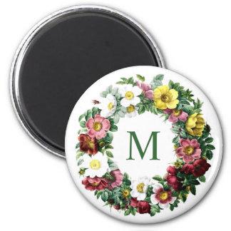 Aimant Monogramme floral vintage de guirlande