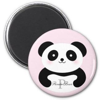 Aimant Monogramme Girly mignon d'ours panda de bébé