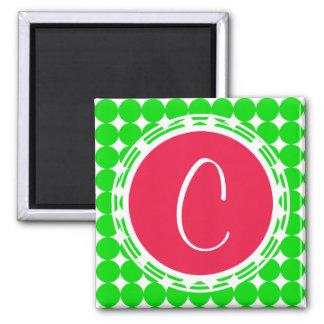 Aimant Monogramme rouge et vert de point de polka