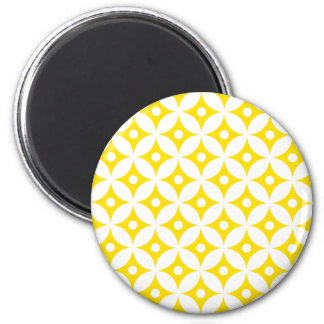 Aimant Motif de pois jaune et blanc moderne de cercle
