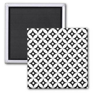 Aimant Motif de pois noir et blanc moderne de cercle