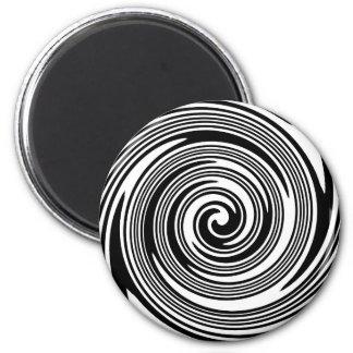 Aimant Motif de tourbillonnement noir et blanc