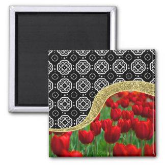 Aimant Motif décoratif de BW de tulipes de parties