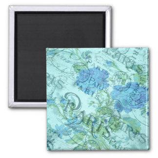 Aimant Motif floral bleu vintage de cachet de la poste de