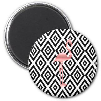 Aimant Motif géométrique abstrait - noir - flamant rose