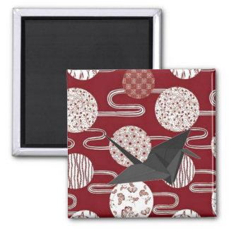 Aimant Motif rouge de kimono de grue chanceuse japonaise