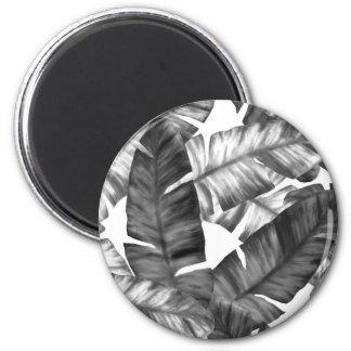 Aimant Motif tropical noir et blanc de feuille de banane