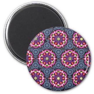 Aimant Motifs floraux et cercles gris