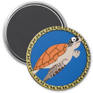 Aimant Natation orange de tortue de mer avec un cadre