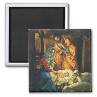 Aimant Nativité vintage de Noël, bébé Jésus dans Manger