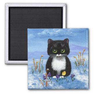 Aimant Neige drôle Creationarts d'hiver de chat de