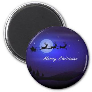 Aimant Noël de lune de Père Noël Sleigh Joyeux
