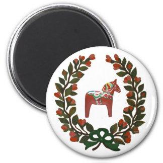 Aimant Noël de Suédois de guirlande de cheval de Dala