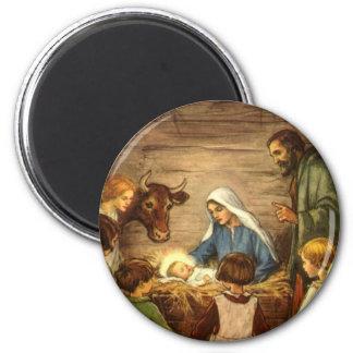 Aimant Noël vintage, bébé religieux Jésus de la nativité