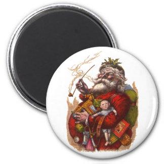 Aimant Noël vintage, jouets victoriens de tuyau du père