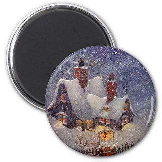 Aimant Noël vintage, Pôle Nord d'atelier du père noël