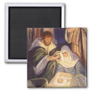 Aimant Noël vintage, trois bergers et bébé Jésus