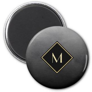 Aimant Noir balayé élégant avec le monogramme simple d'or