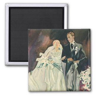 Aimant Nouveaux mariés vintages de mariage, jeune mariée
