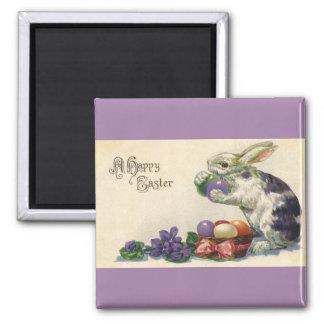 Aimant Oeufs de pâques vintages et lapin de Pâques