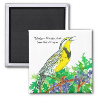Aimant Oiseau d'état d'aquarelle Meadowlark de l'Orégon