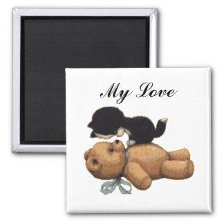 Aimant Ours de nounours mignon et chat noir - mon amour