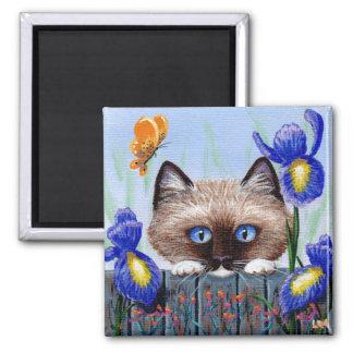 Aimant Papillon drôle Creationarts de chat siamois de