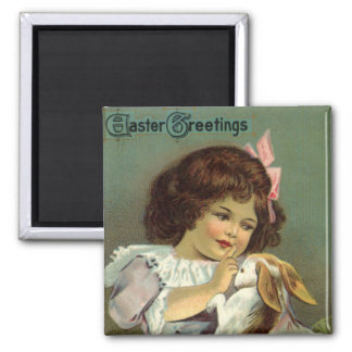 Aimant Pâques vintage, oeufs victoriens de lapin de fille
