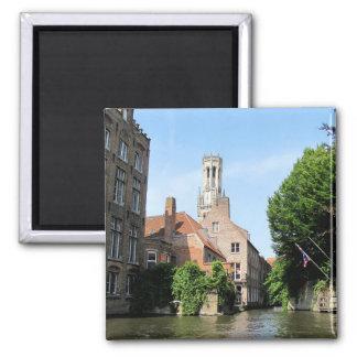 Aimant Paysage avec le canal de l'eau à Bruges, Belgique
