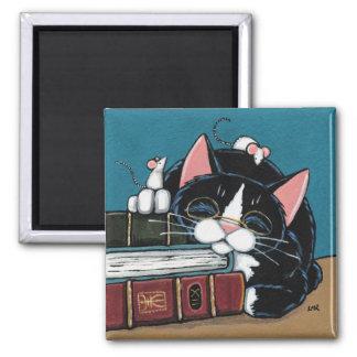 Aimant Peinture de chat et de souris de smoking de rat de