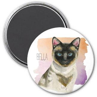 Aimant Peinture élégante d'aquarelle de chat siamois