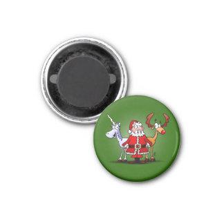 Aimant Père Noël, renne et une licorne